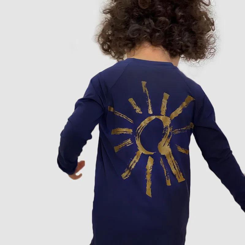 UV LINE Camiseta Sun Of My Life Filhx Manga Longa Infantil Marinho Proteção Solar
