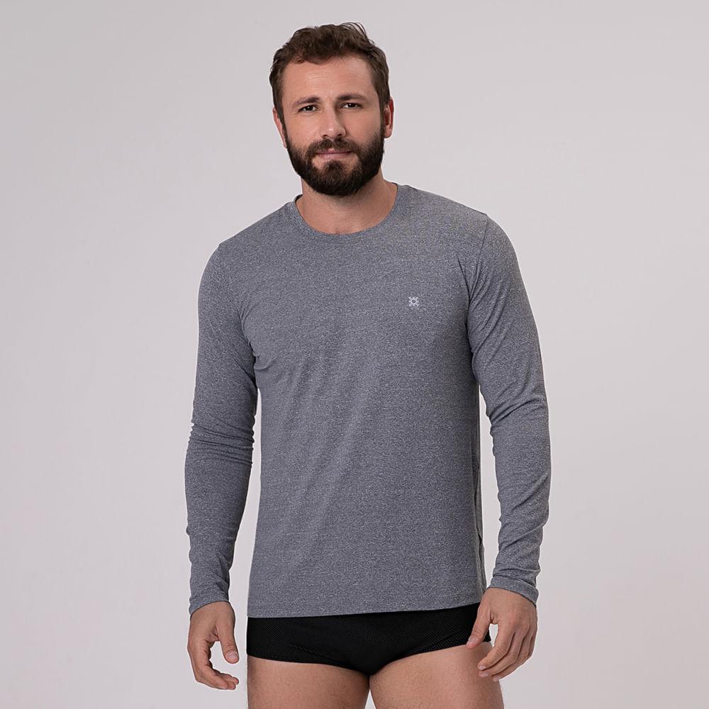UV LINE Camiseta Tom Ipanema Manga Longa Masculina Cinza Proteção Solar