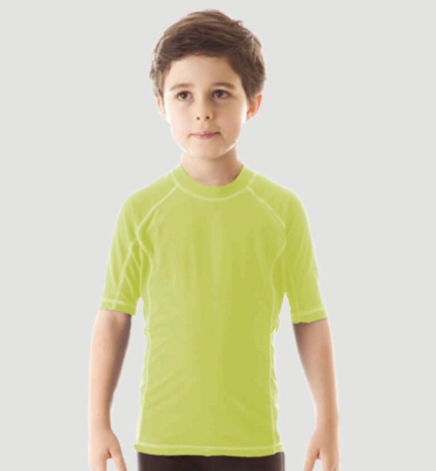 UV LINE Camiseta Uv Colors Manga Curta Infantil Verde Maçã Proteção Solar