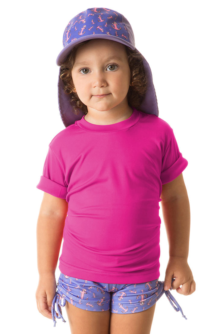 UV LINE Camiseta Uvpro Infantil Manga Curta Pink Proteção Solar