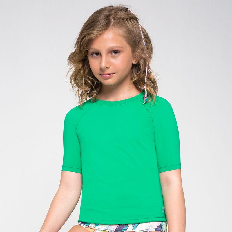 UV LINE Camiseta Uvpro Infantil Manga Curta Verde Folha Proteção Solar