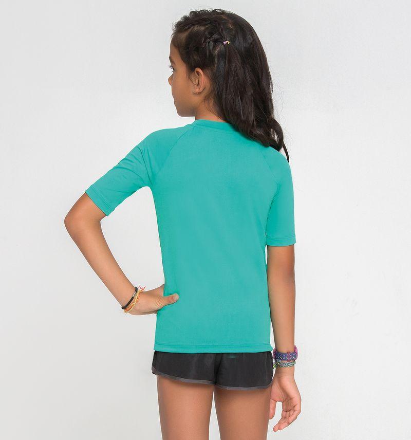 UV LINE Camiseta Uvpro Manga Curta Infantil Verde Menta Proteção Solar
