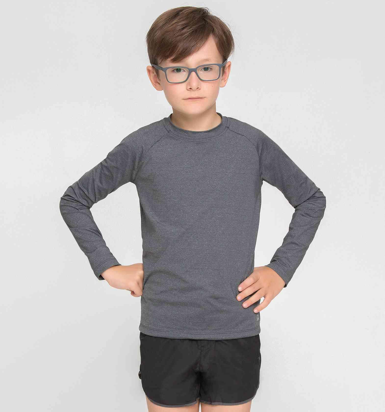 UV LINE Camiseta Uvpro Infantil Manga Longa Cinza Proteção Solar
