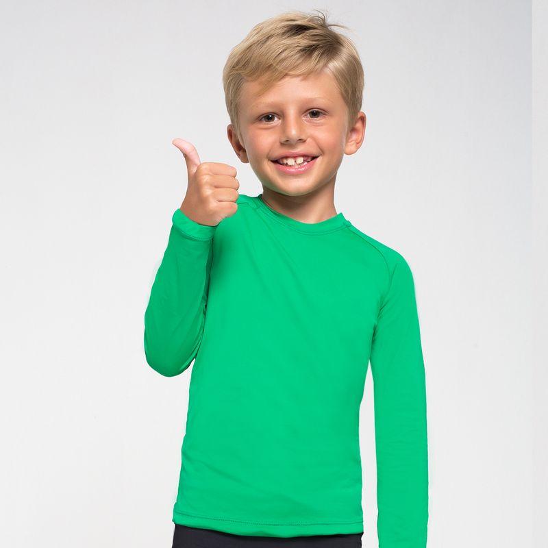 UV LINE Camiseta Uvpro Infantil Manga Longa Verde Folha Proteção Solar