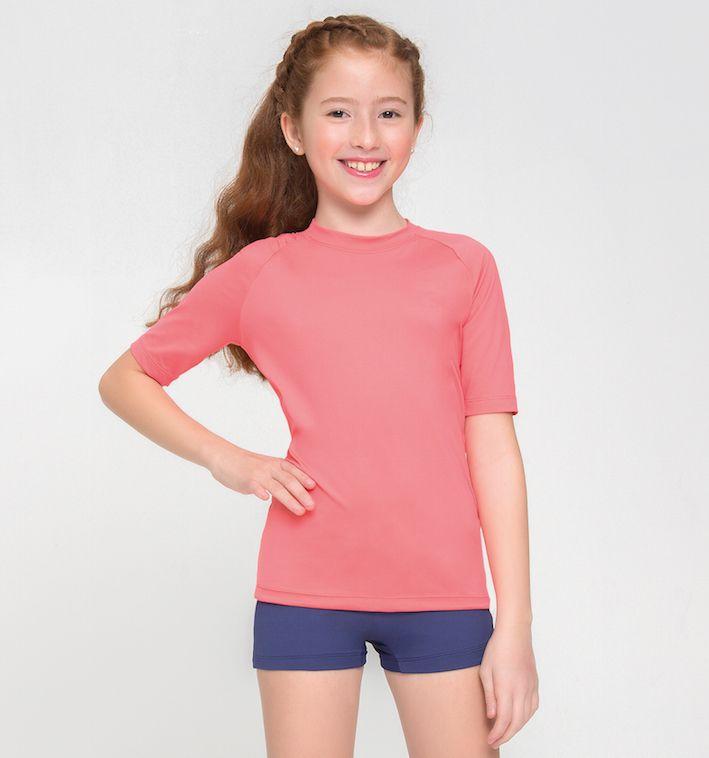 UV LINE Camiseta Uvpro Manga Curta Infantil Coral Proteção Solar