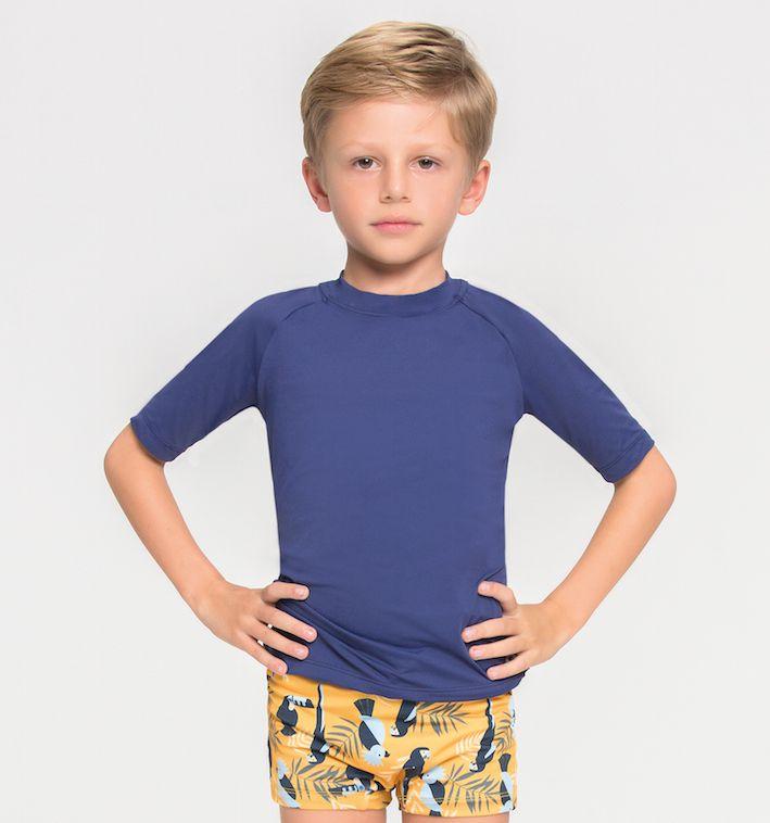 UV LINE Camiseta Uvpro Manga Curta Infantil Marinho Proteção Solar
