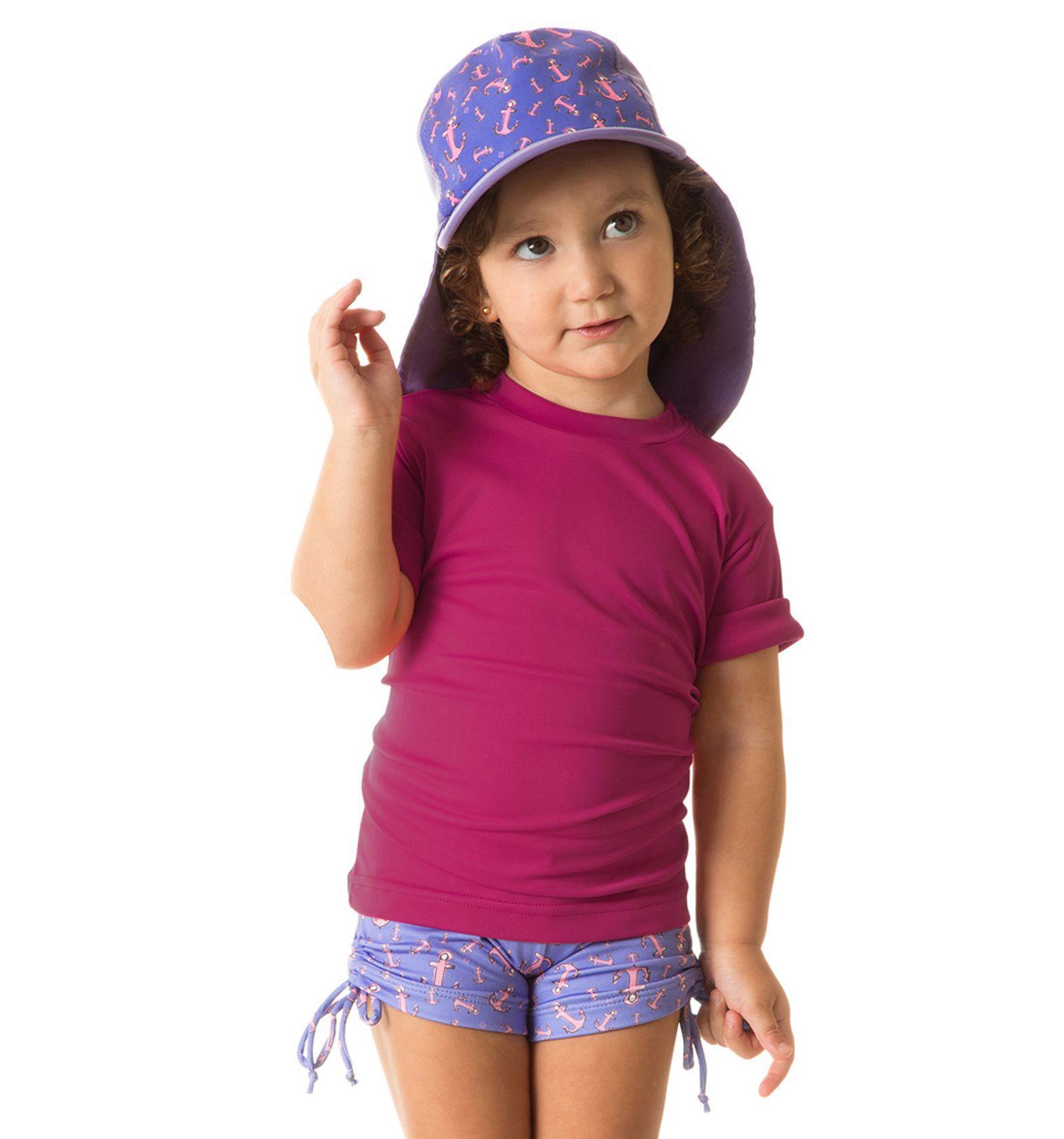 UV LINE Camiseta Uvpro Manga Curta Infantil Magenta Proteção Solar