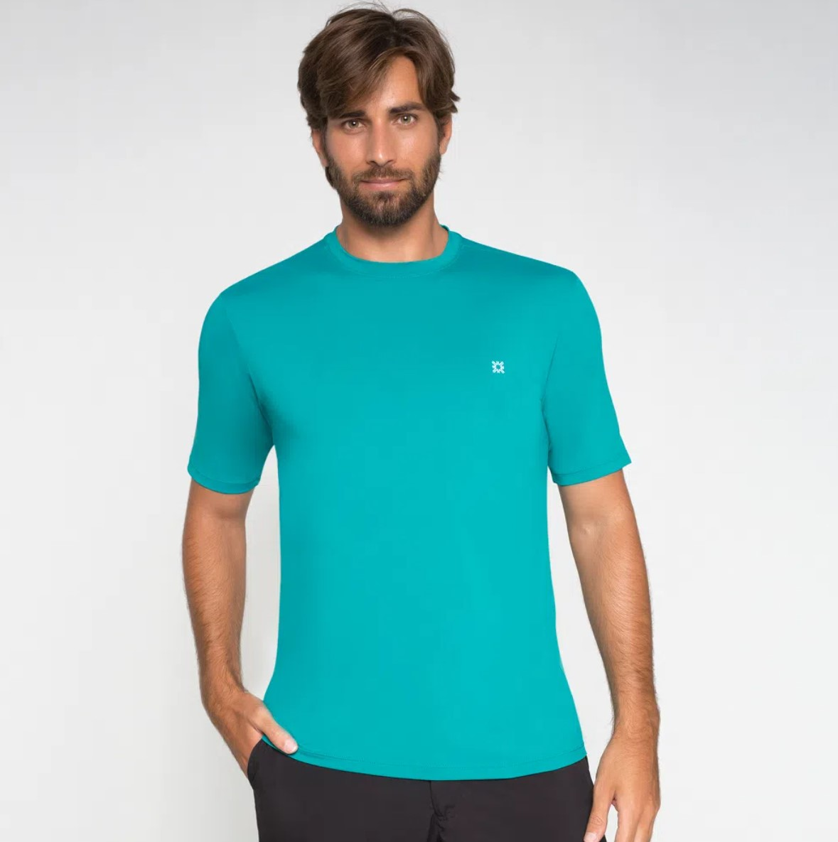 UV LINE Camiseta Uvpro Manga Curta Masculina Verde Hortelã Proteção Solar
