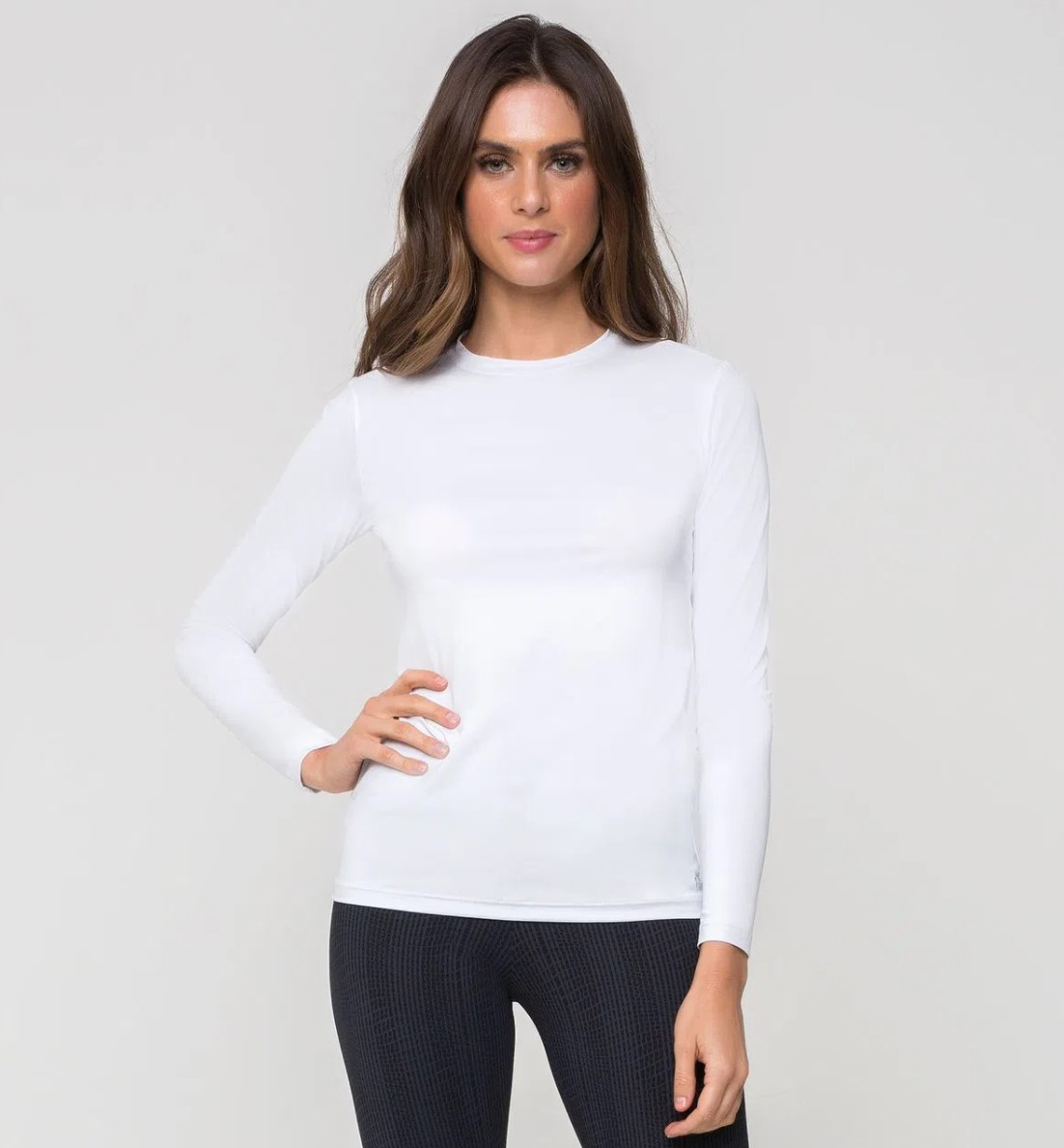 UV LINE Camiseta Uvpro Manga Longa Feminino Branco Proteção Solar
