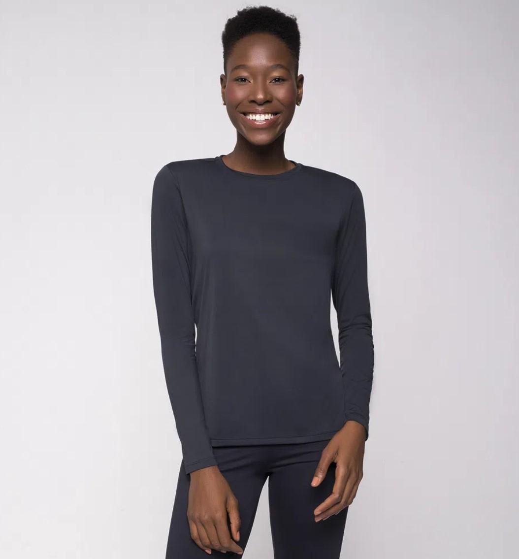 UV LINE Camiseta Uvpro Manga Longa Feminino Preto Proteção Solar