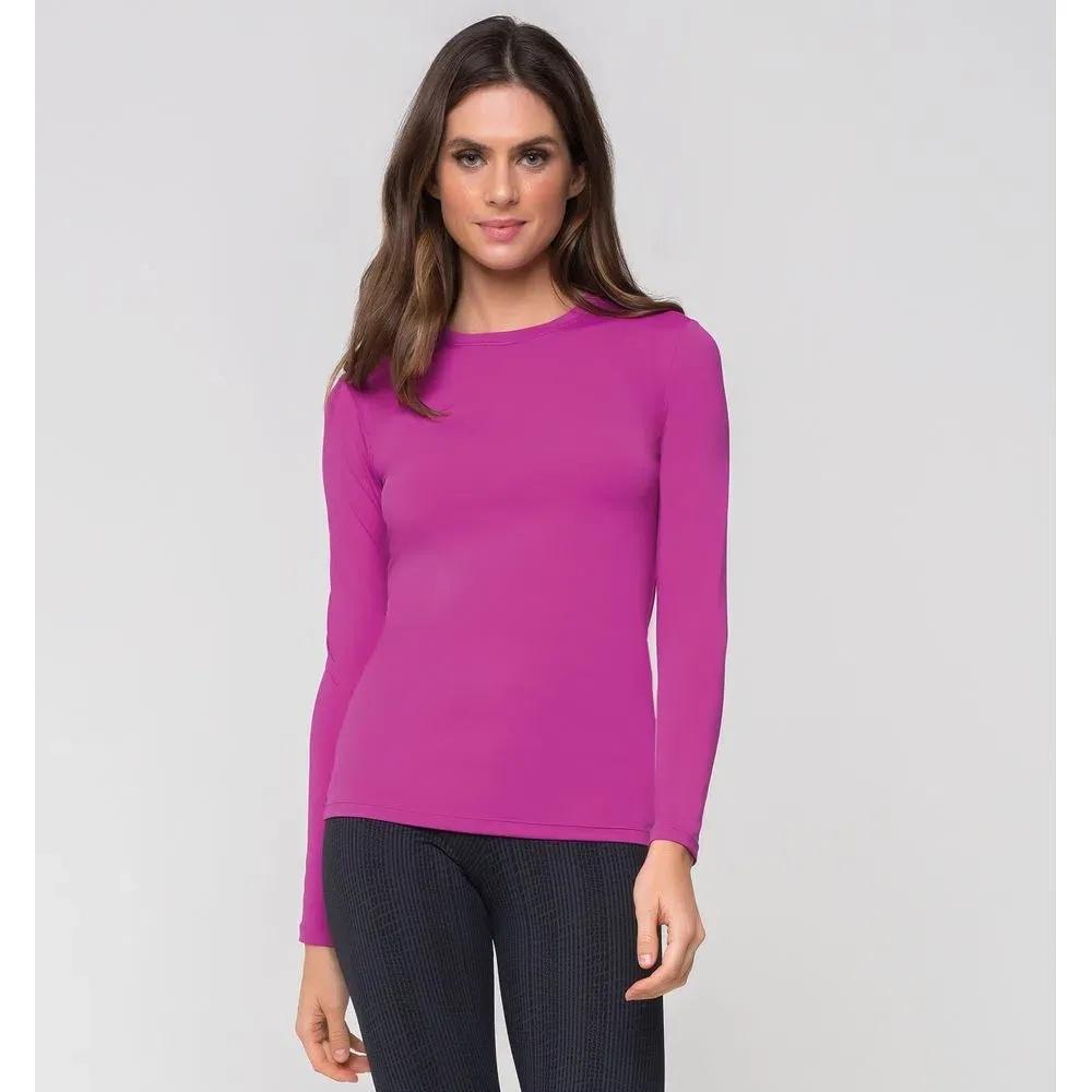 UV LINE Camiseta Uvpro Manga Longa Feminino Rosa Batom Proteção Solar