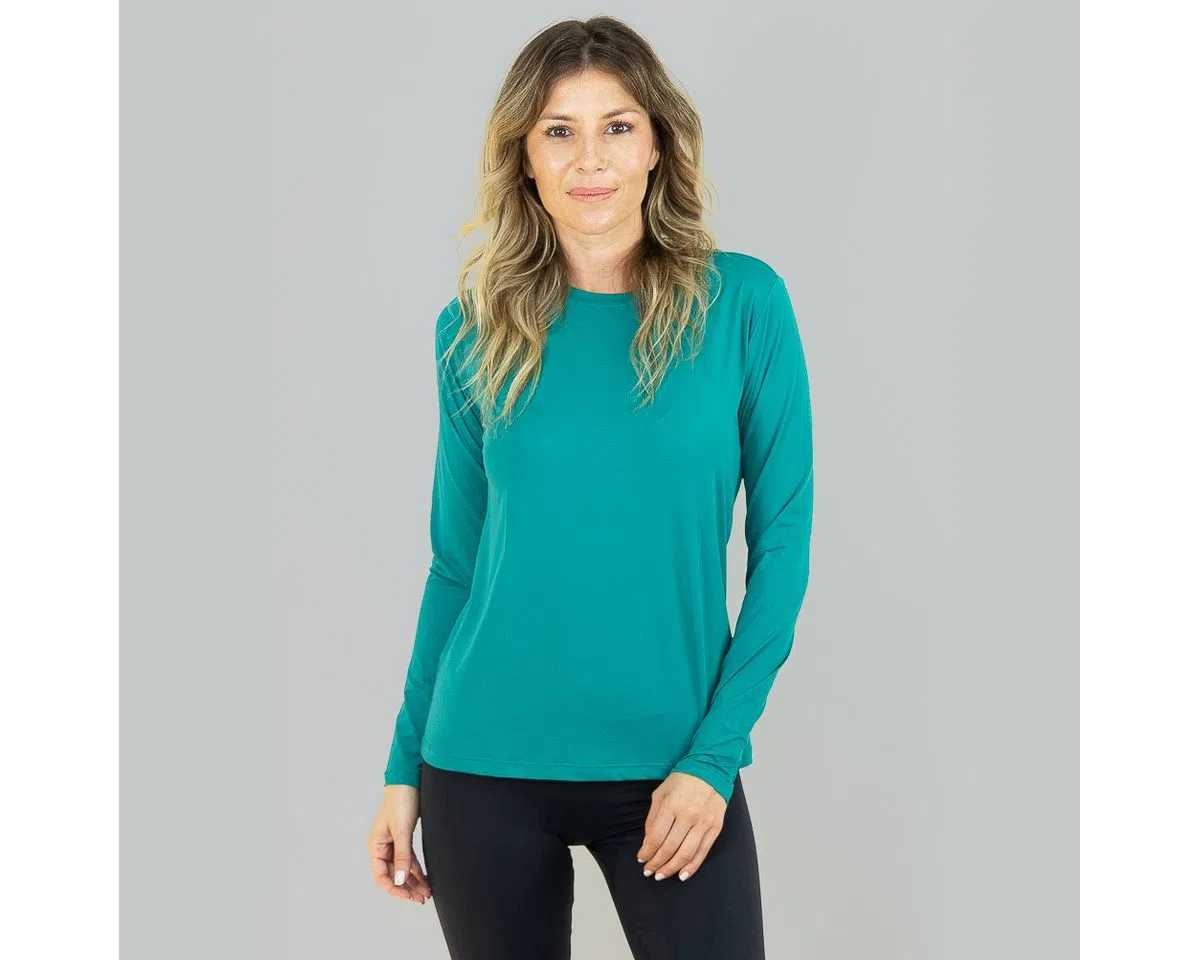 UV LINE Camiseta Uvpro Manga Longa Feminino Verde Hortelã Proteção Solar