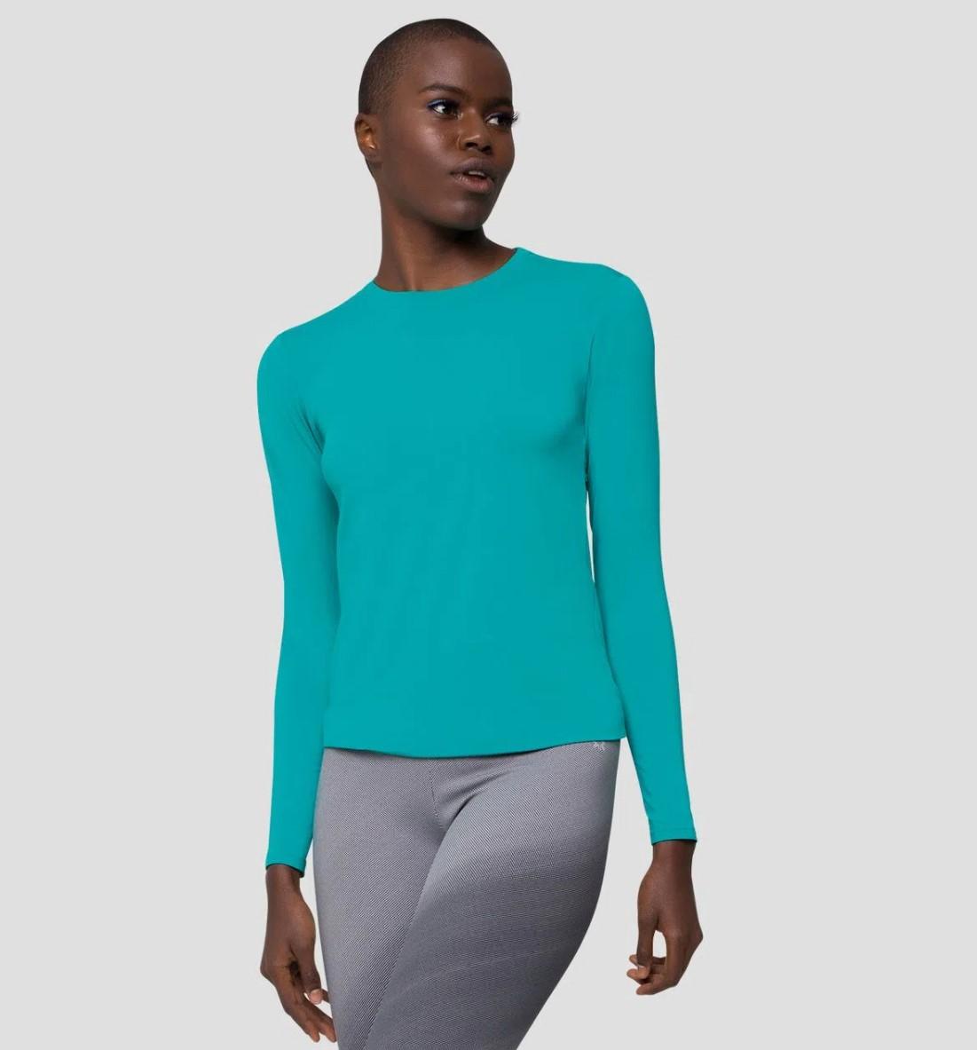 UV LINE Camiseta Uvpro Manga Longa Feminino Verde Mar Proteção Solar