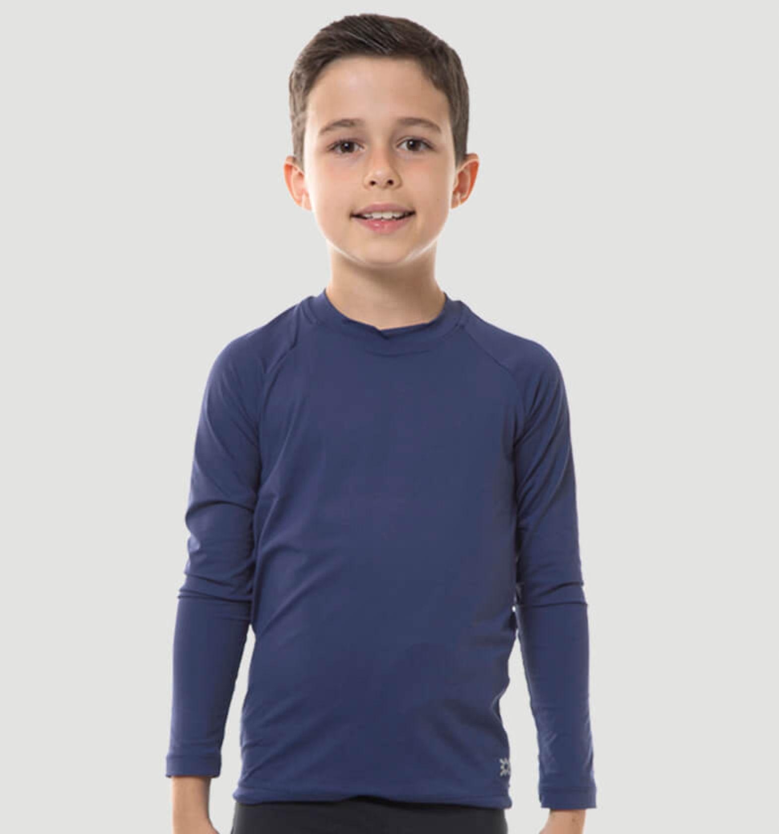 UV LINE Camiseta Uvpro Manga Longa Infantil Marinho Proteção Solar
