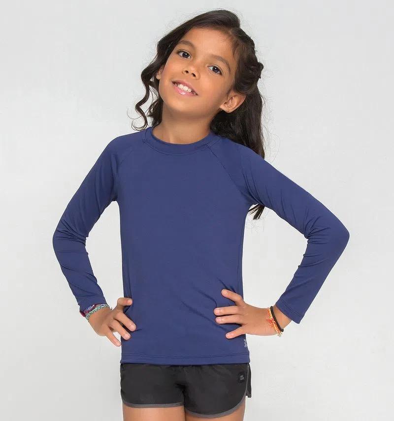 UV LINE Camiseta Uvpro Manga Longa Infantil Azul Bic Proteção Solar