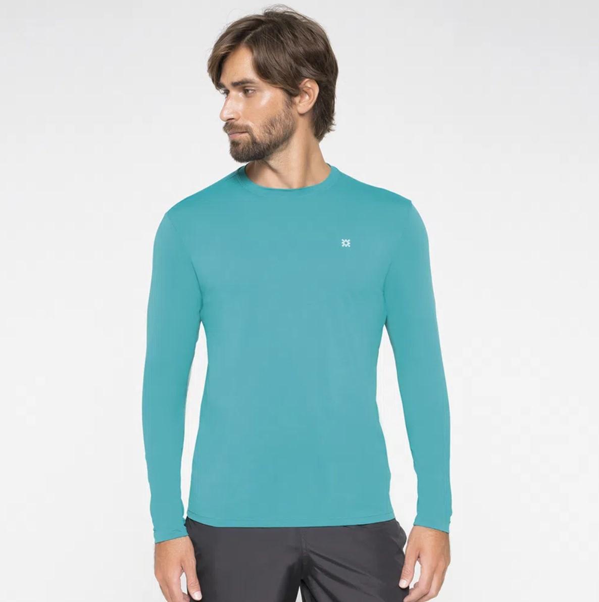UV LINE Camiseta Uvpro Manga Longa Masculina Verde Hortelã Proteção Solar