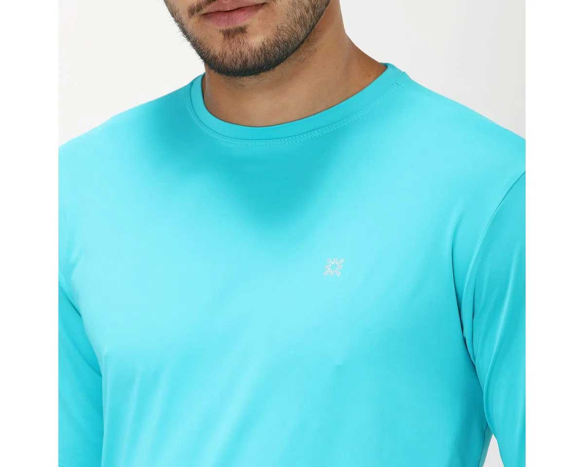 UV LINE Camiseta Uvpro Manga Longa Masculino Azul Piscina Proteção Solar