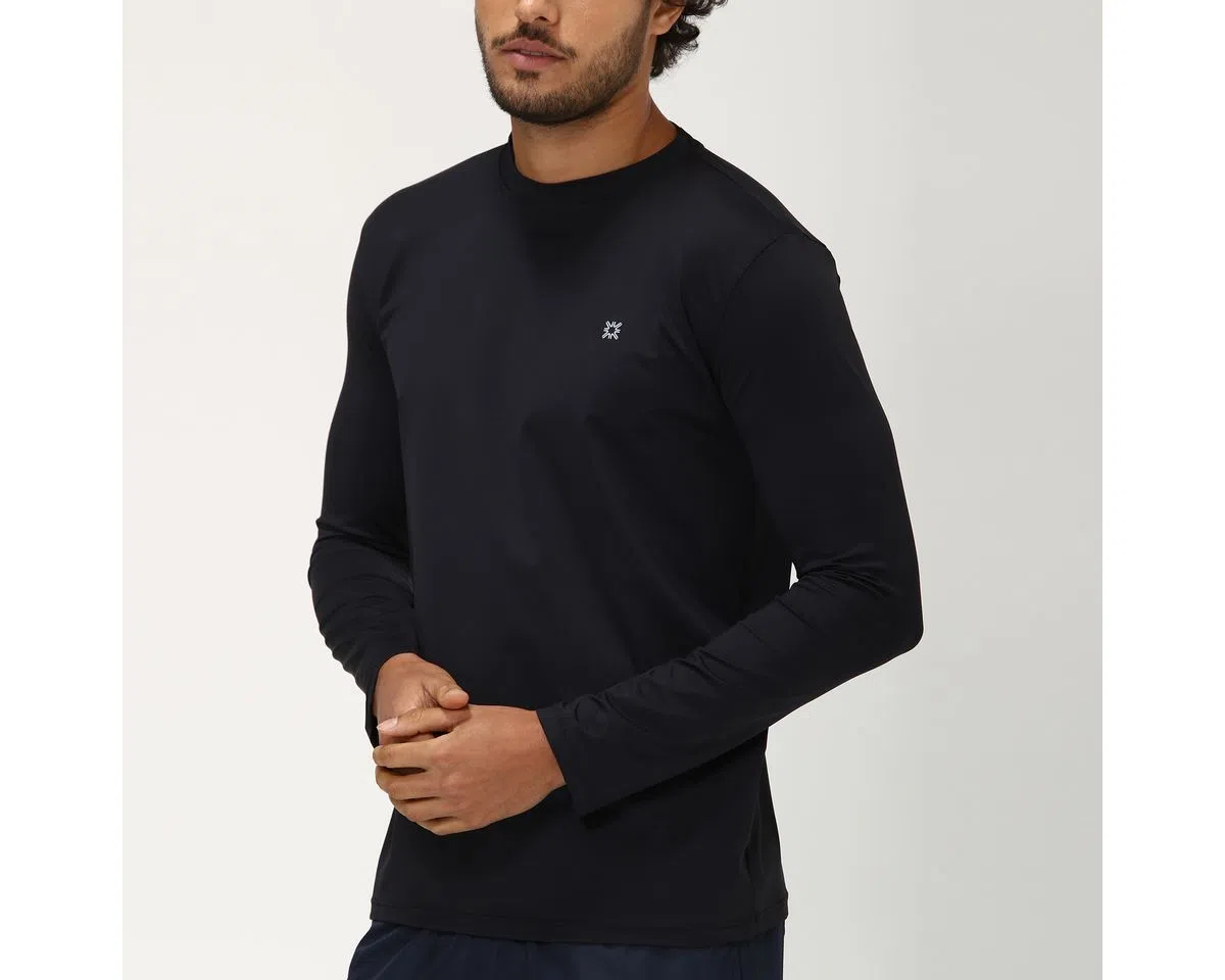 UV LINE Camiseta Uvpro Manga Longa Masculino Preto Proteção Solar