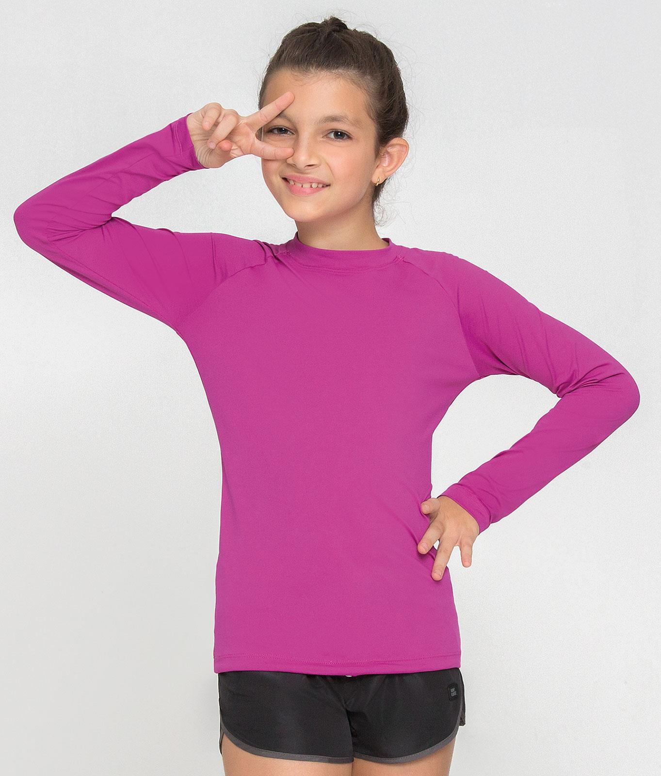 UV LINE Camiseta Uvpro ML Infantil Rosa Batom Proteção Solar