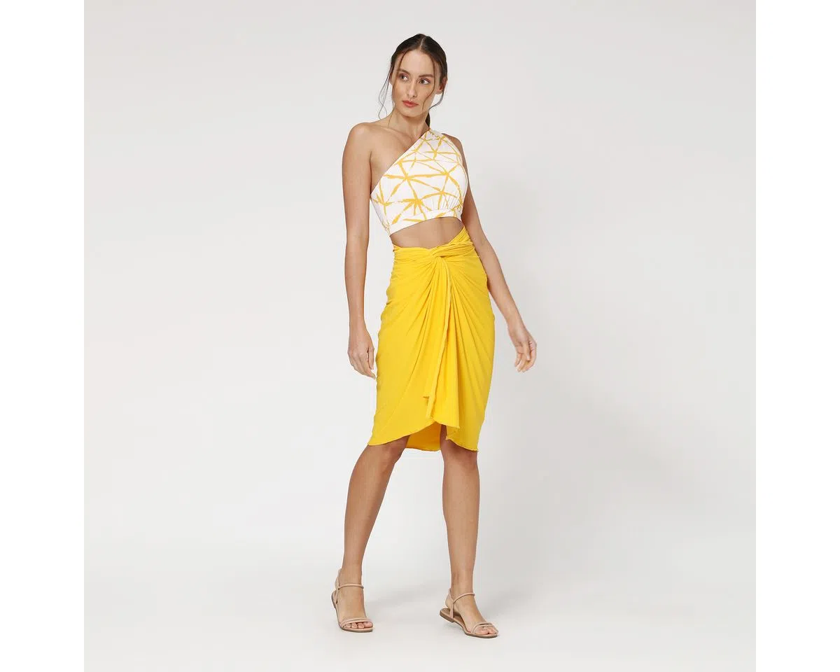 UV LINE Canga Lisa Feminino Amarelo Queimado Proteção Solar