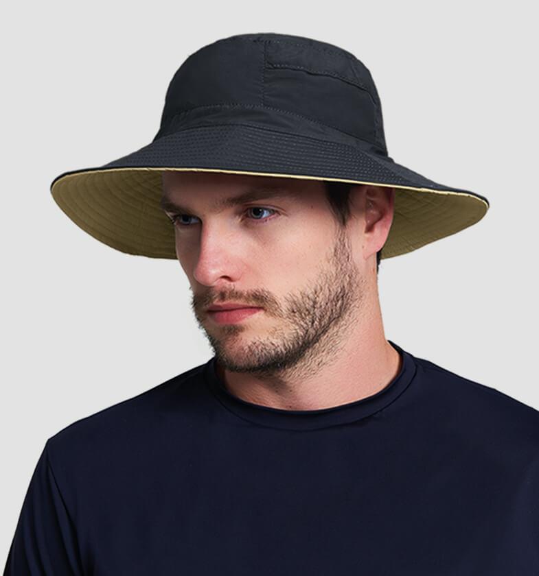 UV LINE Chapéu Austrália Masculino Preto/Kaki Proteção Solar