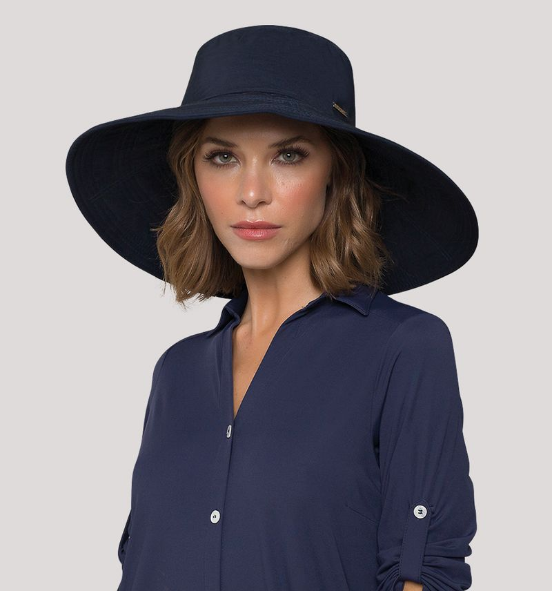 UV LINE Chapéu Beverly Hills Feminino Marinho Proteção Solar