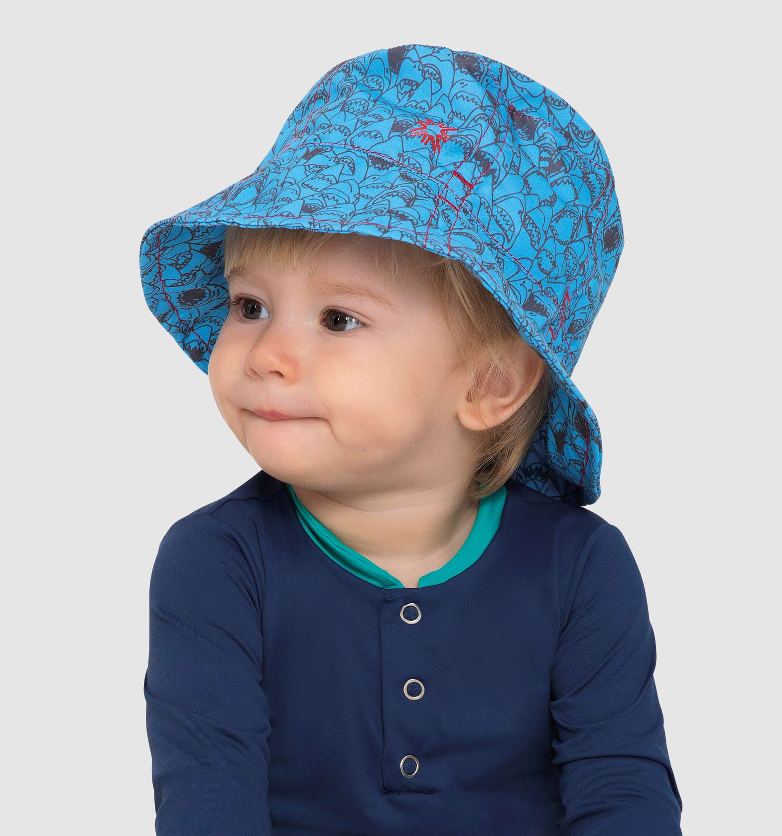 UV LINE Chapéu Napoli tubarão Infantil Azul Proteção Solar
