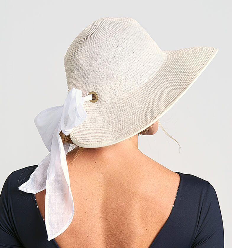UV LINE Chapéu Santorini Feminino Off White Proteção Solar