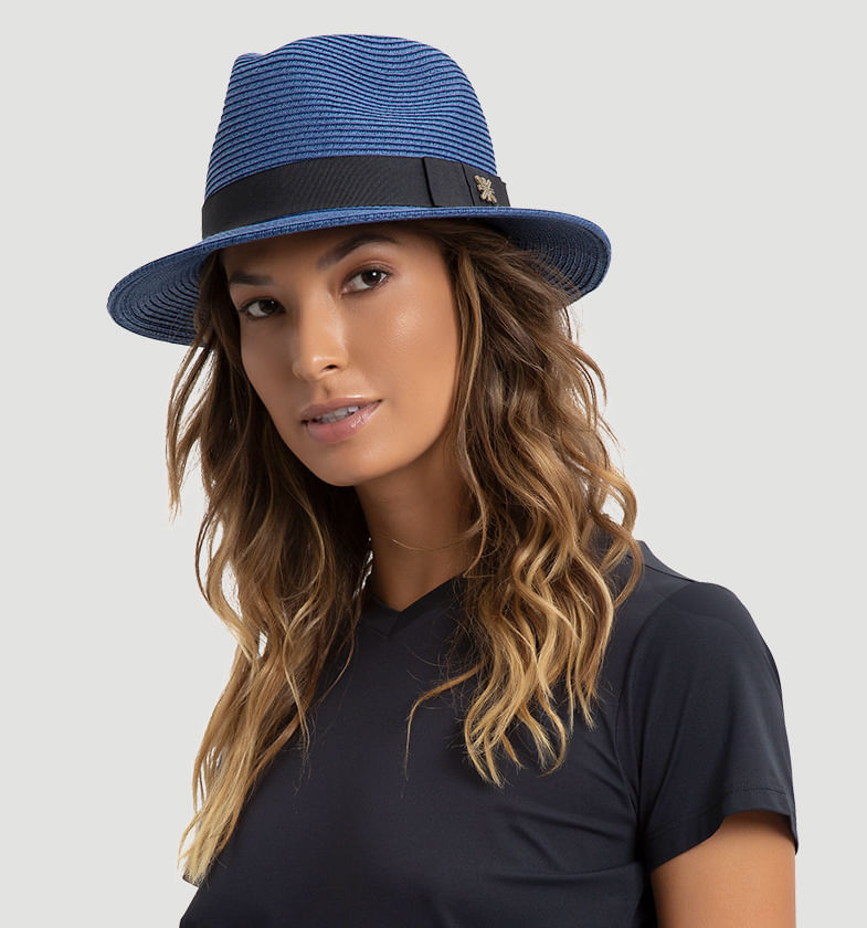 UV LINE Chapéu Shanghai Panamá Unissex Marinho Proteção Solar