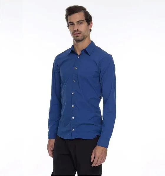 UV LINE FALTA MEDIDAS Camisa Georgia Masculino Manga Longa Índigo Proteção Solar