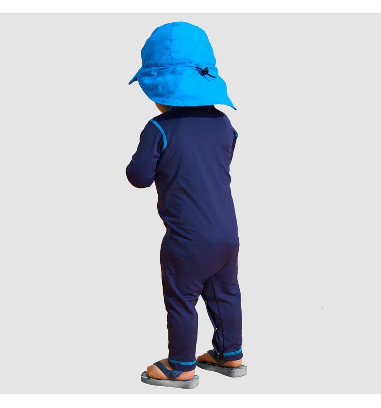 UV LINE Macaquinho Baby Manga Longa Infantil Azul Proteção Solar