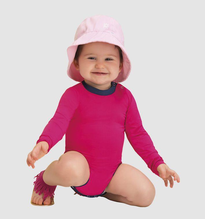 UV LINE Maiô Baby Manga Longa Infantil Pink Proteção Solar