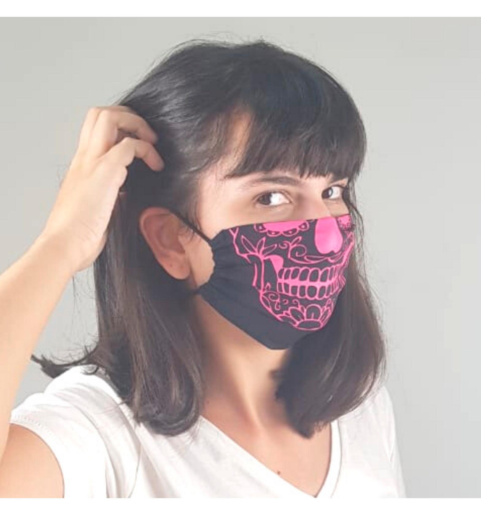 UV LINE Mascara Algodao Ajuste Caveira Mex Preto