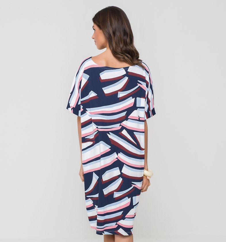 UV LINE Saída de Praia T-Shirt Costela Blue Feminina Estampa Proteção Solar