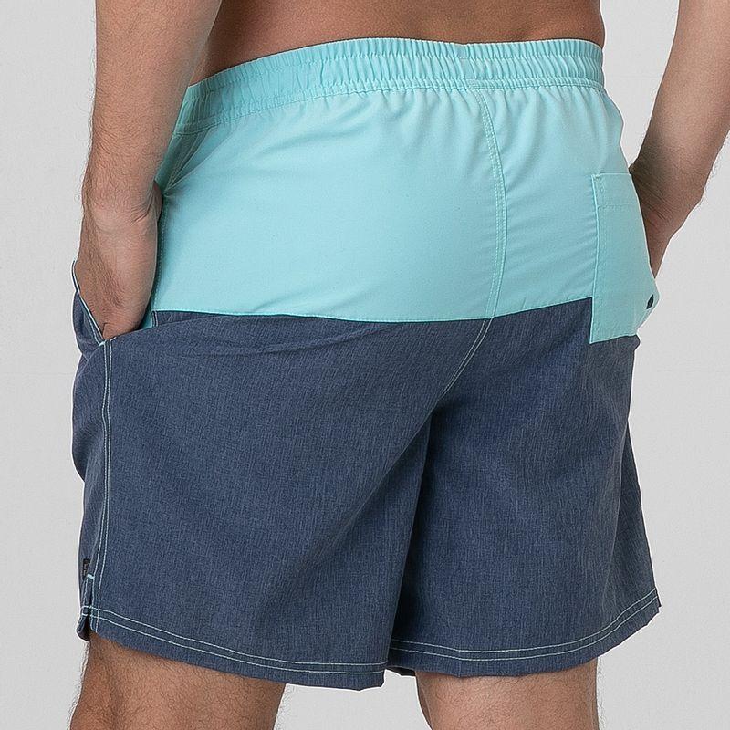 UV LINE Short Acqua Color Block Masculino Turquesa/Marinho Proteção Solar