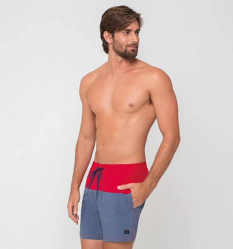 UV LINE Short Acqua Color Block Masculino Vermelho/Marinho Proteção Solar