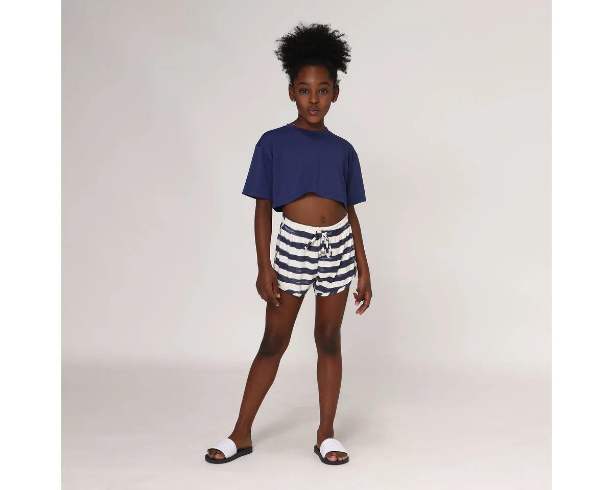 UV LINE Short Fit Listras Infantil Off White/Preto Proteção Solar