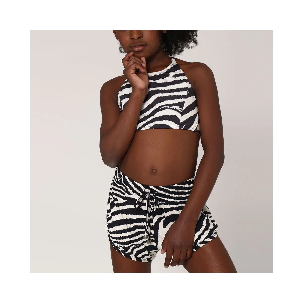 UV LINE Short Fit Zebra Infantil Branco/Preto Proteção Solar