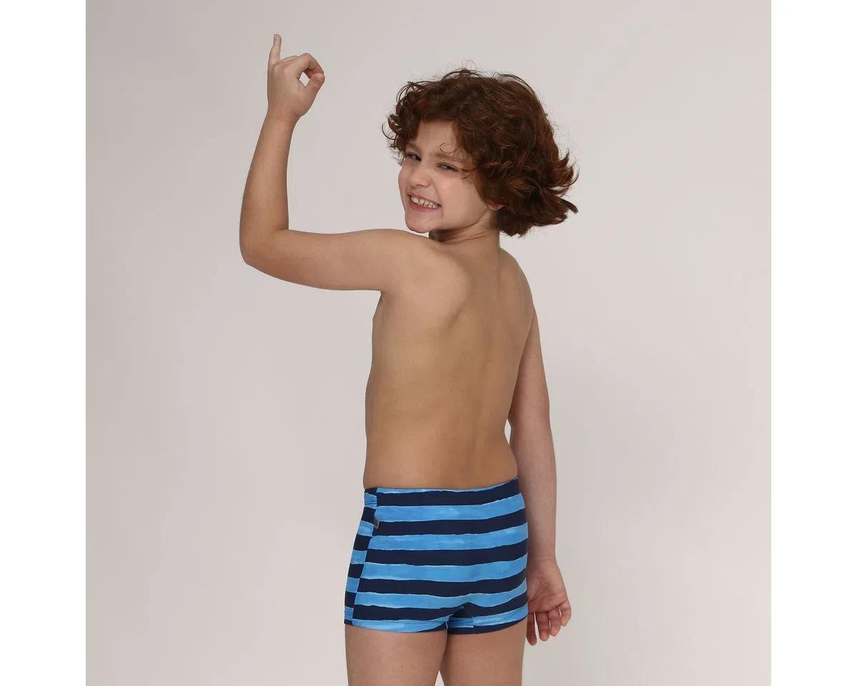 UV LINE Sunga Listras Infantil Azul Claro/Preto Proteção Solar