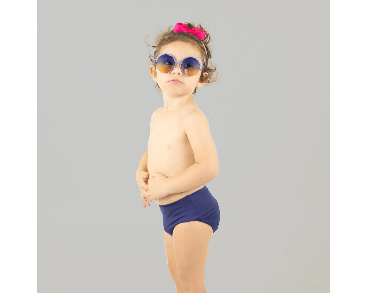 UV LINE Sunkini Hot Pant Infantil Marinho Proteção Solar