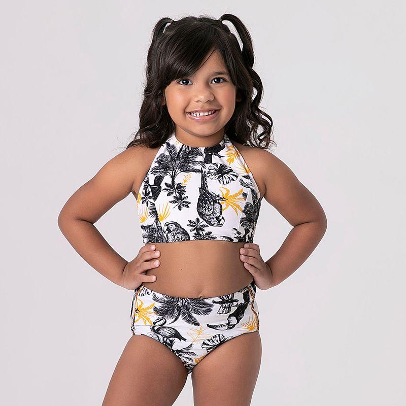 UV LINE Trikini Brasil Infantil Branco/Amarelo Proteção Solar
