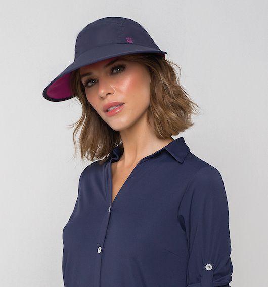 UV LINE Viseira Capri Colors Feminina Marinho/Rosa  Proteção Solar