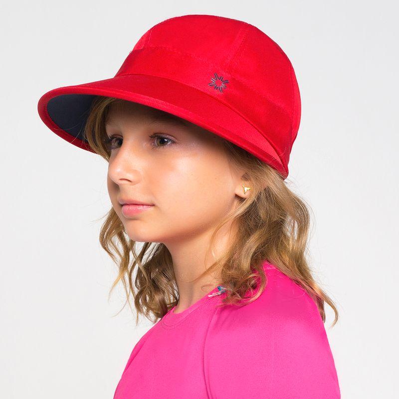 UV LINE Viseira Nice Infantil Vermelho/Marinho Proteção Solar