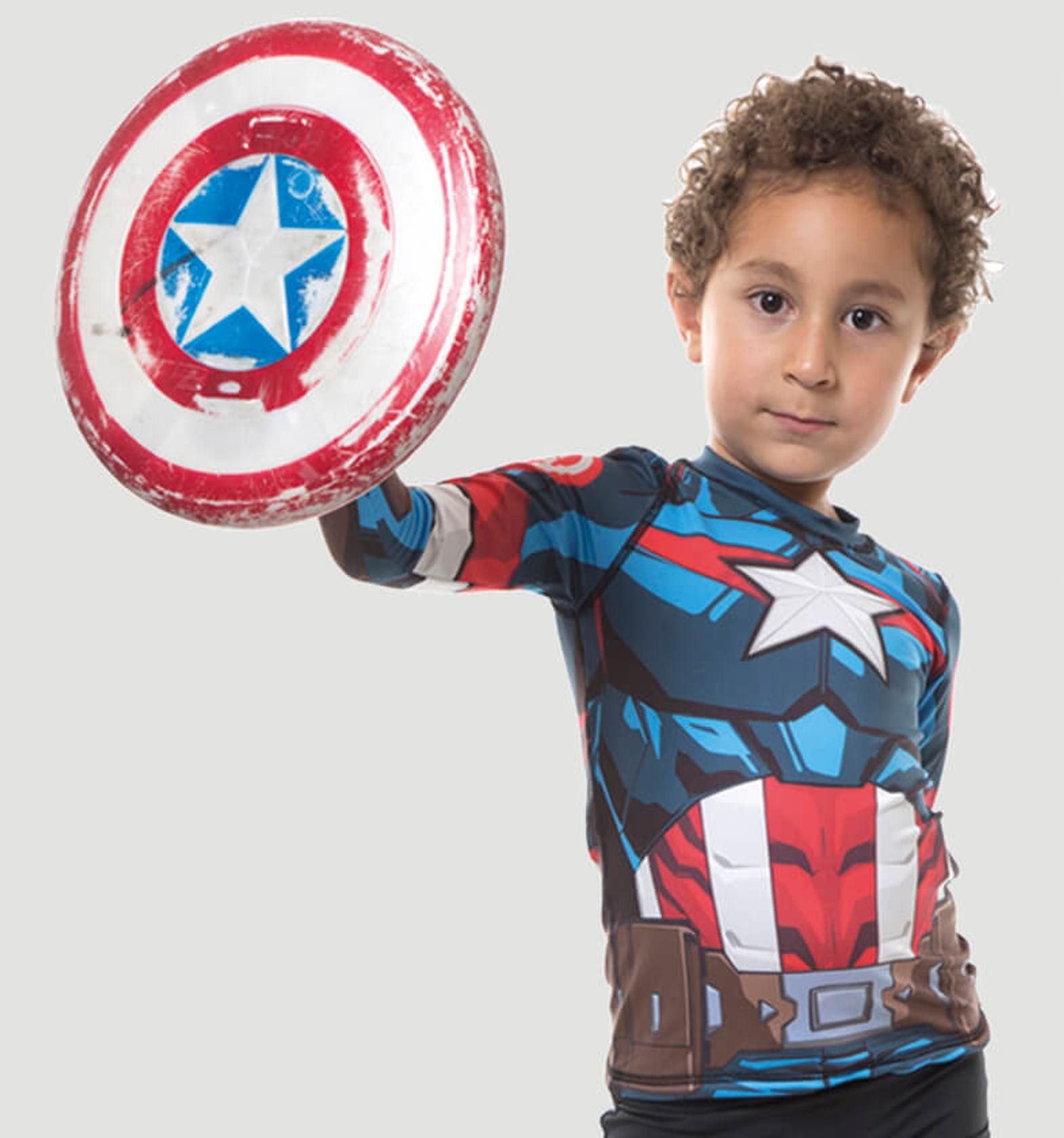 UV LINE Camiseta Acqua Capitão América ML Infantil Prot Solar