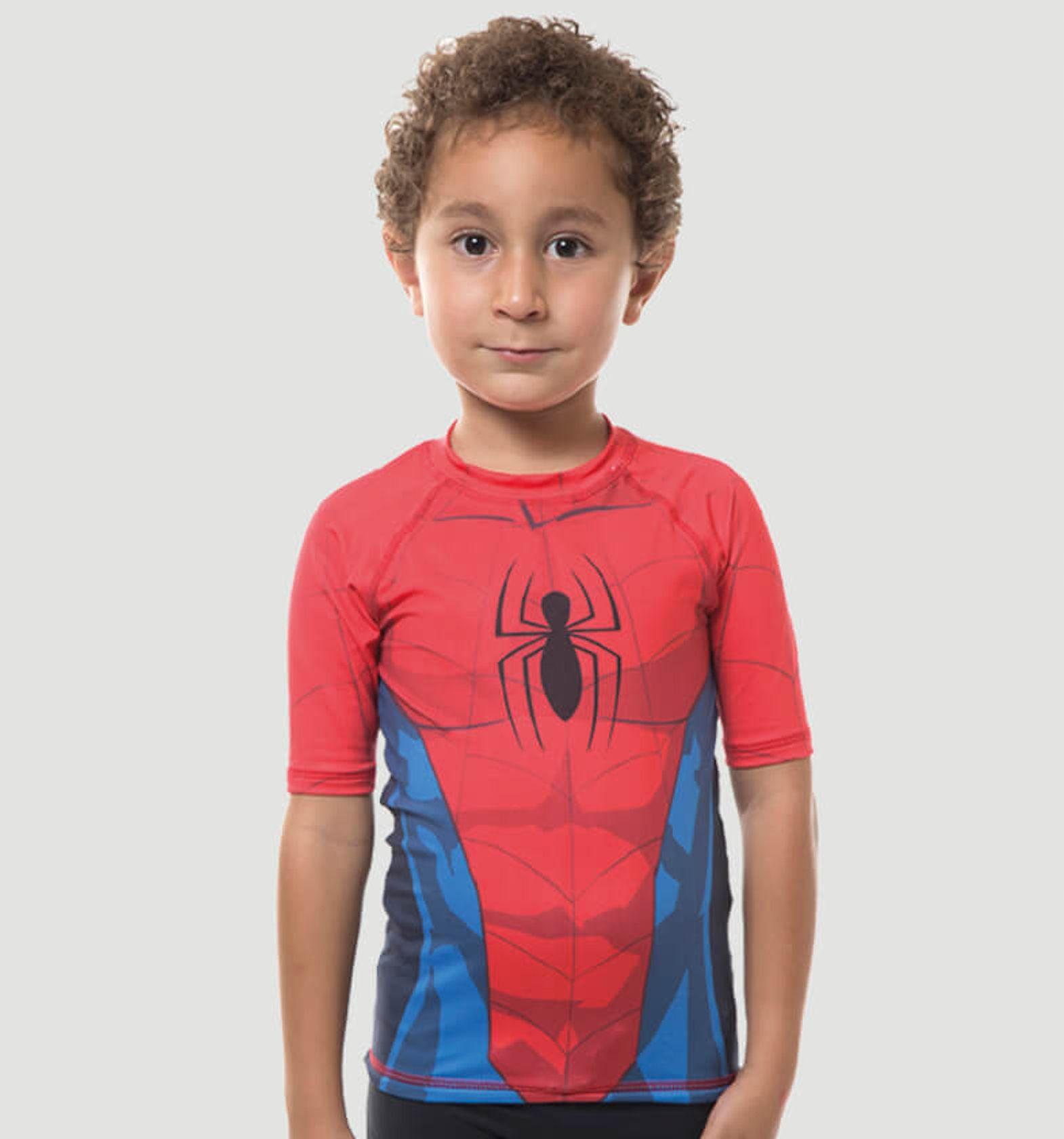 UV LINE Camiseta Acqua Homem Aranha Manga Curta Infantil Proteção Solar