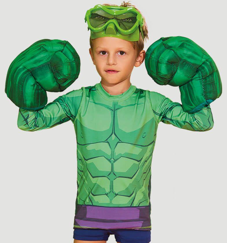 UV LINE Camiseta Acqua Hulk Manga Longa Infantil Proteção Solar