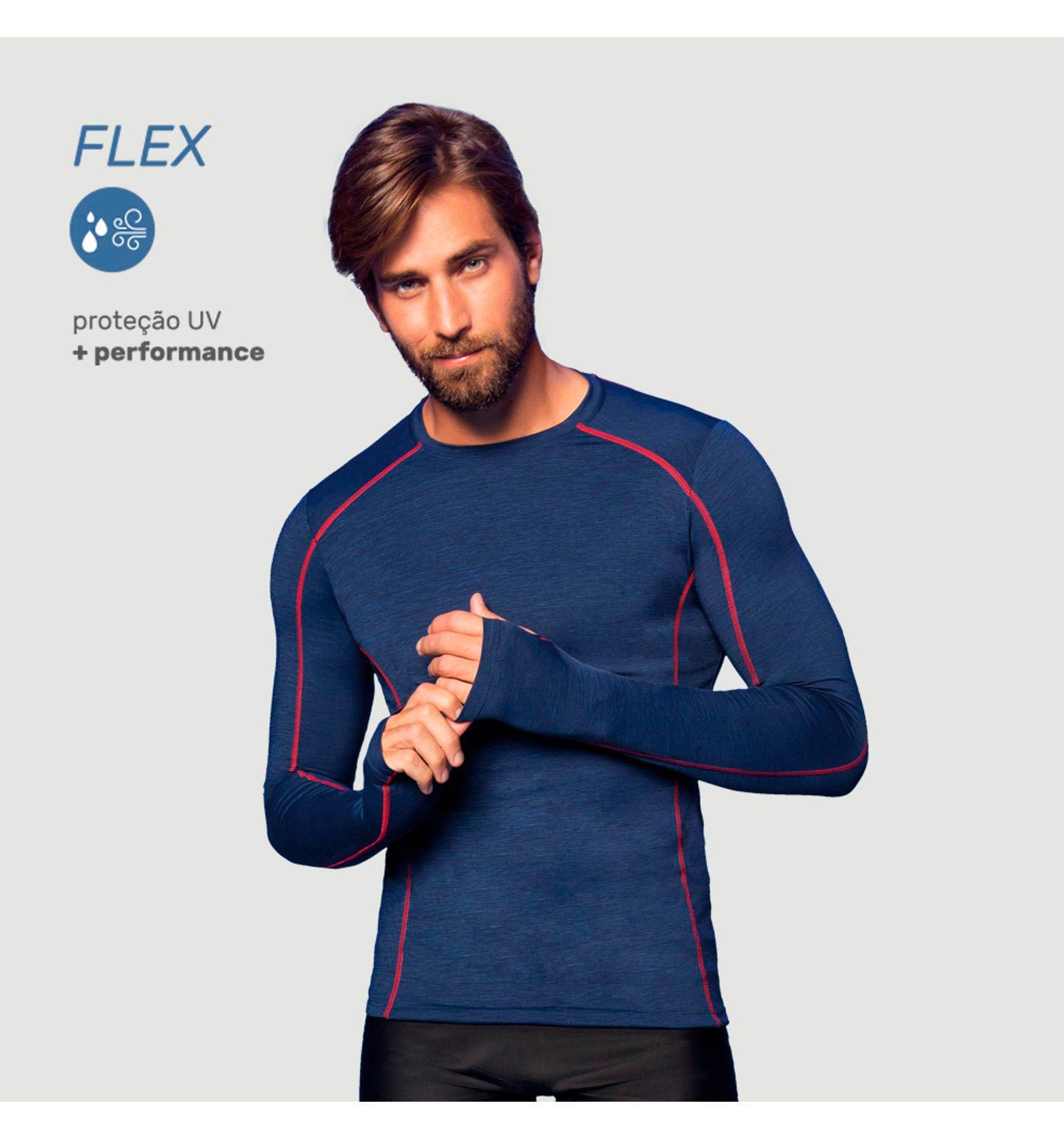 UV LINE Camiseta Flex Manga Longa Masculina Proteção Solar