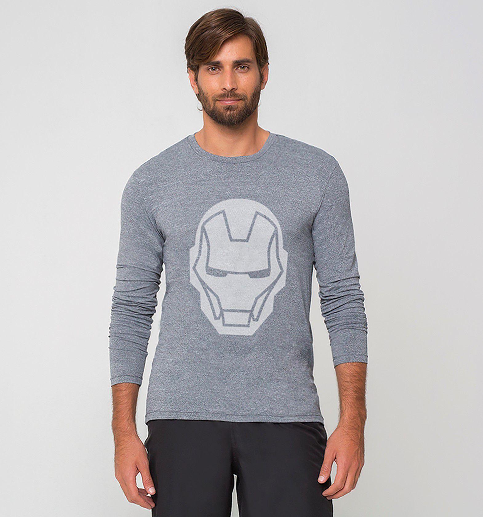 UV LINE Camiseta Masculina Sport Fit Manga Longa Estampa Proteção Solar