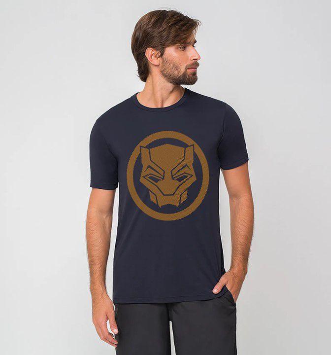 UV LINE Camiseta Duo Pantera Negra Manga Curta Masculina Proteção Solar