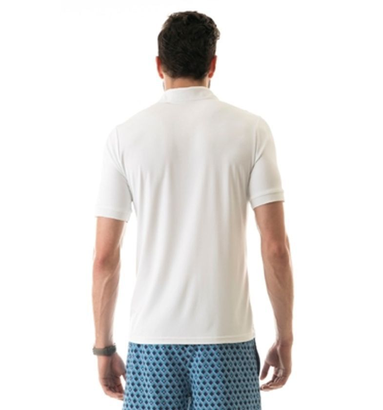 UV LINE Camiseta Polo Manga Curta Masculina Branco Proteção Solar